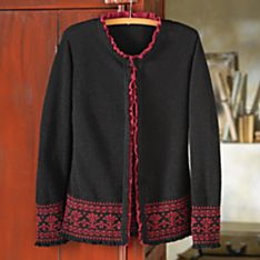 Red Cardigan Wool Sweater Women