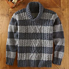 Men's Aran and Donegal Shawl Collar Sweater
