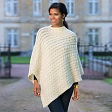 Irish Aran Wool Poncho, Made in Ireland
