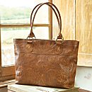 Paraguayan Hand-tooled Leather Travel Tote Bag