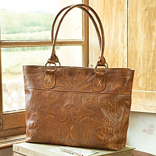 View Paraguayan Hand-tooled Leather Travel Tote Bag image