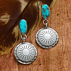 Navajo Turquoise Concha Earrings, Handmade in New USA