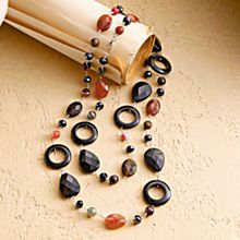 Carnelian and Onyx Chinese Bi Necklace
