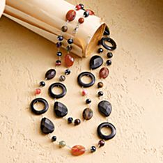 Handcrafted Carnelian and Onyx Chinese Bi Necklace