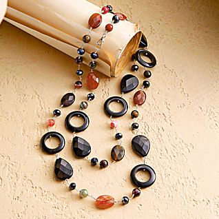 View Carnelian and Onyx Chinese Bi Necklace image