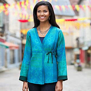 View Emerald Silk Reversible Wrap Jacket image