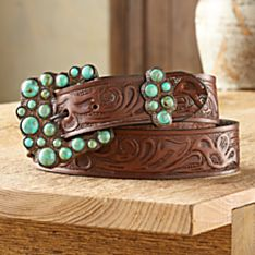 Madrid Falls Tooled Leather Belt, Made in the USA
