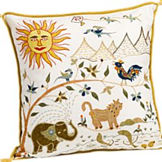 100% Cotton Handcrafted Gujarati Sun Throw Pillow