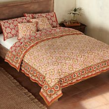 100% Cotton Mughal Jewel Reversible Block-Print Duvet
