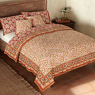 View Mughal Jewel Reversible Block-print Duvet Cover image