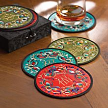 Luck and Prosperity Embroidered Silk Coasters - Set of 6, Made in China