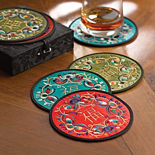 View Luck and Prosperity Embroidered Silk Coasters - Set of 6 image