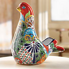 Handcrafted Talavera-Style Dove of Peace Planter