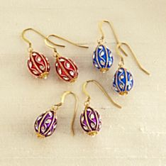 Jeweled Russian Egg Earrings, Made in the USA