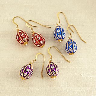 Jeweled Russian Egg Earrings