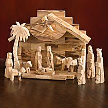 Handcrafted Holy Land Olive-Wood Nativity Set