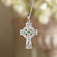 Celtic Cross Emerald Necklace, Made in Ireland