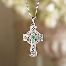Celtic Cross Emerald Necklace