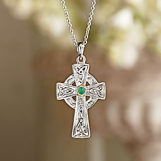 View Celtic Cross Emerald Necklace image