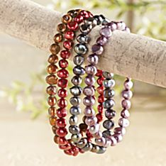 Pearl River Stretch Bracelets - Set of 4, Made in China