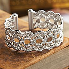 Handcrafted Colombian Sterling Silver Lace Cuff Bracelet