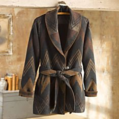Women's Navajo Wool Wrap Coat