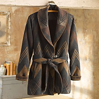 Navajo Wool Wrap Coat