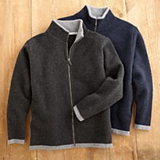 Men's Scottish Wool Fleece Cardigan Sweater