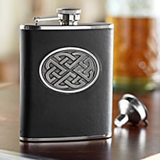 Celtic Pewter and Leather Flask