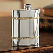 Handcrafted Sheffield Pewter and Brass Flask