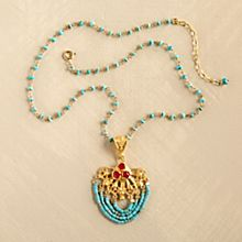 Handcrafted Ottoman Turquoise and Ruby Necklace
