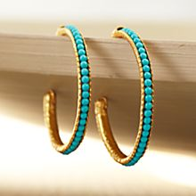 Handcrafted Turkish Blue Moon Turquoise Hoops