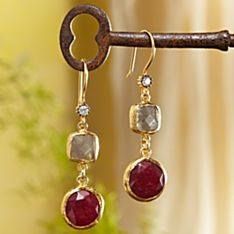 Handcrafted Golden Horn Ruby Quartz Earrings
