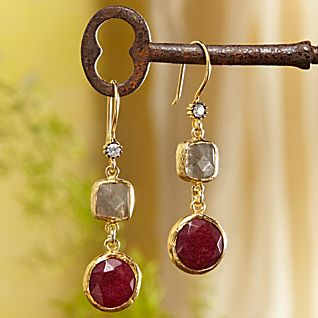 View Golden Horn Ruby Quartz Earrings image