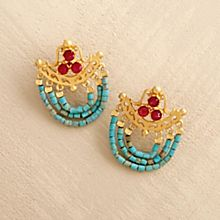 Handcrafted Ottoman Turquoise and Ruby Earrings