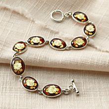 Handcrafted Amber Rose Intaglio Bracelet