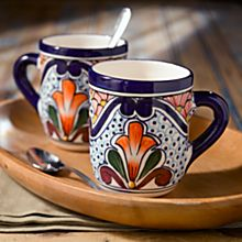 Handcrafted Talavera-Style Mugs - Set of 2