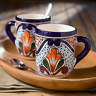 Talavera-style Mugs - Set of 2