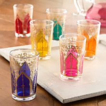 Hand-Painted Moroccan Medina Tea Glasses - Set of 6