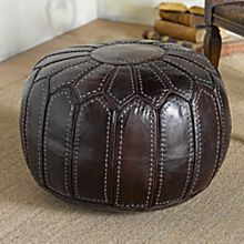 North African Marrakesh Leather Pouf