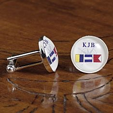 Men's Personalized Nautical Flag Cufflinks