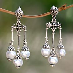 Handcrafted Borobudur Cultured Pearl Earrings