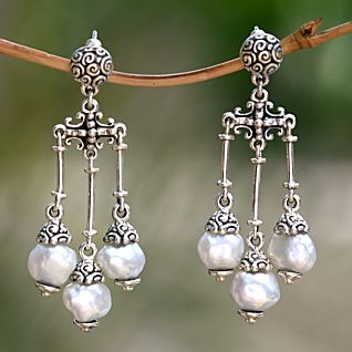 View Borobudur Cultured Pearl Earrings image