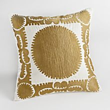 100% Cotton Suzani Sun Embroidered Pillow - Square