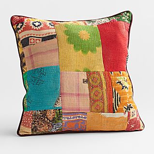 View Vintage Kantha Pillow - Square image