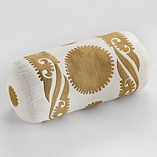 View Suzani Sun Embroidered Pillow - Bolster image
