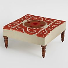 Canvas Suzani Medallion Embroidered Ottoman