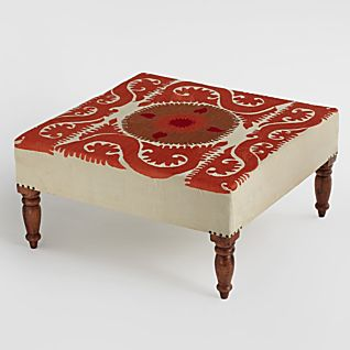 View Suzani Medallion Embroidered Ottoman image
