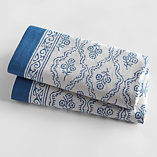 View Blue Trellis Hand-printed Pillow Cases - Set of 2 image