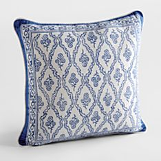 100% Cotton Blue Trellis Hand-Printed Reversible Throw Pillow